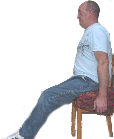 This is the correct sitting posture for gravity assisted circulation