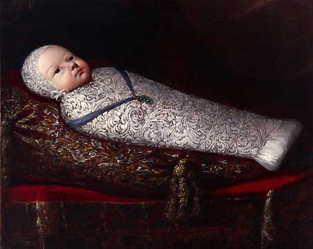 louis X1V as a  baby swaddled inclined