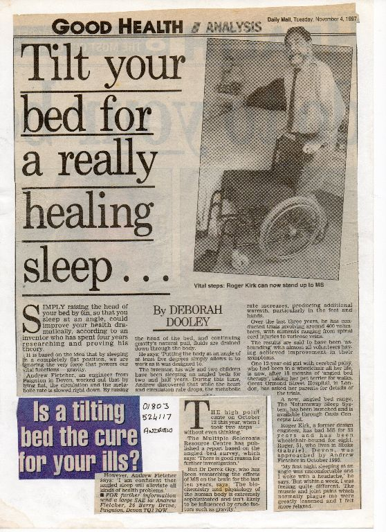 daily mail inclined bed therapy ms news article 1