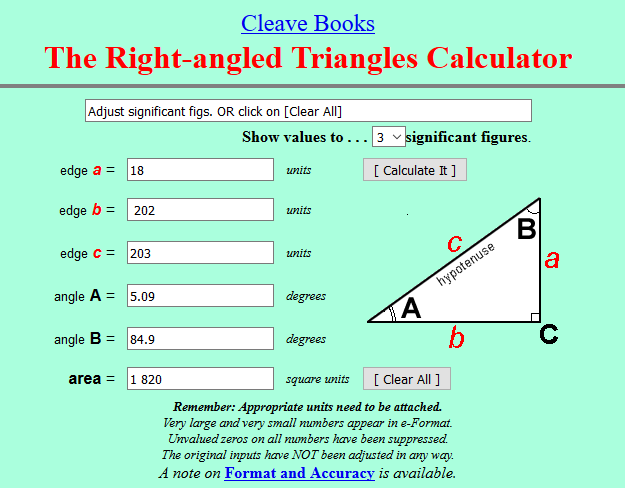 Right Angle Triangle Calculator showing height and angle of Standard King Size Bed US & Canada Click link to check your bed and enter Length plus Guess Height. If wrong, reset and change height until 5 degrees is achieved. Simplest method of working out the optimum angle for inclined bed therapy (IBT).