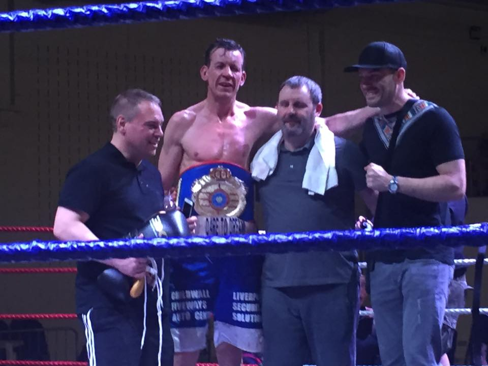 Tony Moran from Liverpool, celebrating his WBF World Title Win Over 12 Rounds against Sandy Rob